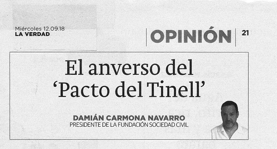 Artículo de opinión. La Verdad de Murcia 12-09-2018. El anverso del Pacto del Tinell