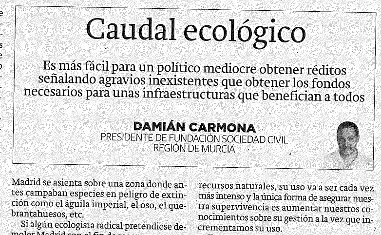 La verdad de Murcia 23-03-2019 Caudal Ecológico